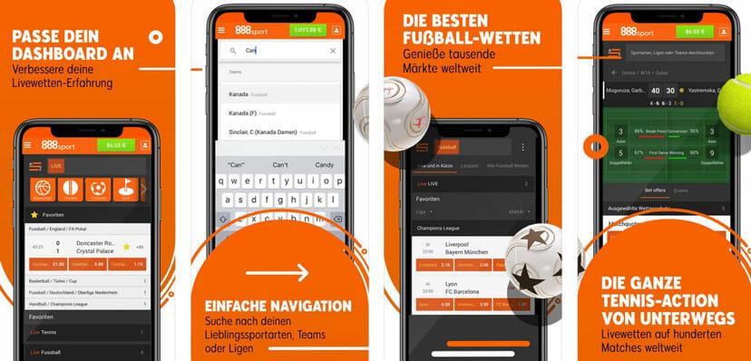 888 Sport Live und mobil wetten
