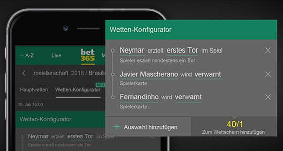 bet365 App Wetten Konfigurator