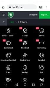 bet90 App Angebot