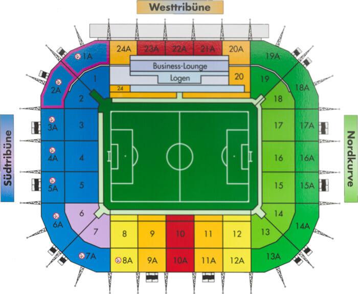 Borussia Park Stadionplan Borussia Moenchengladbach