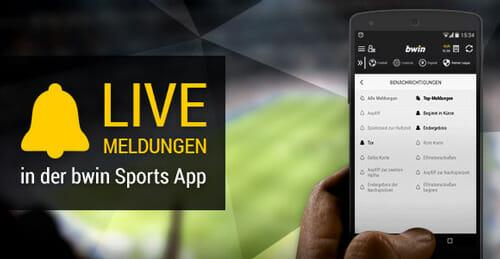 bwin App Live Meldungen