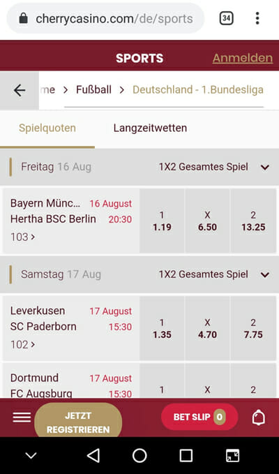 Cherry Sportwetten Handy