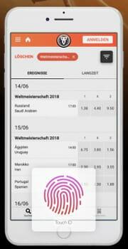 Leo Vegas Sport App Fingerabdruck Scanner