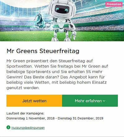 Mr Green Bestandskunden