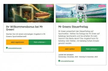 Mr Green Bonus Angebote