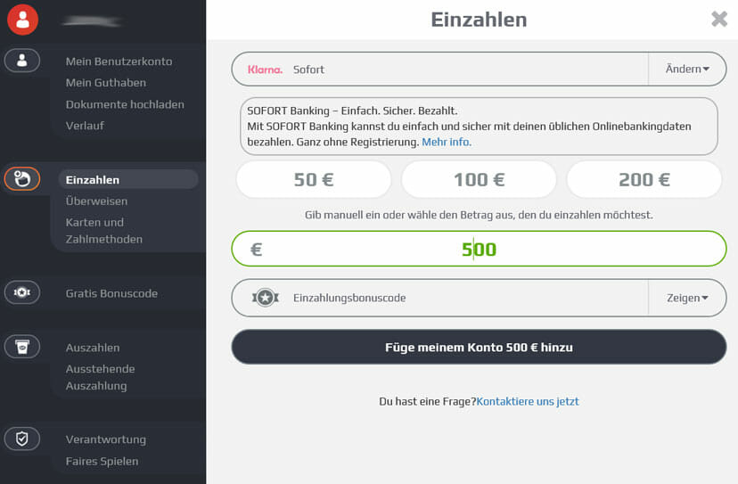 NetBet einzahlen