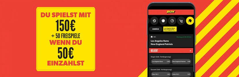 Rizk Sportwetten App Bonus