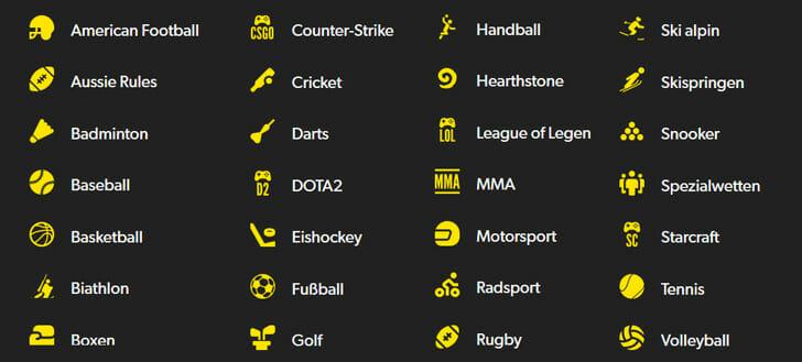 Rizk Sportwetten Auswahl