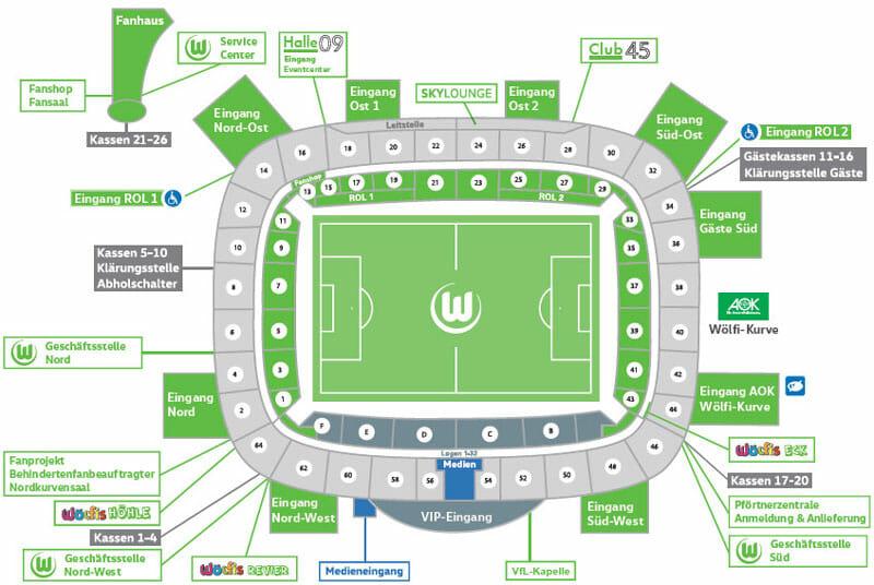 Volkswagen Arena Stadionplan VfL Wolfsburg