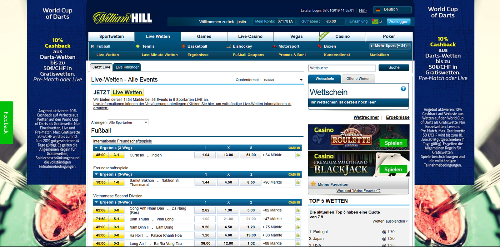 William Hill Vorschau